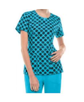 Infinity by Cherokee Dot Pursuit Turquoise print scrub top with Certainty - Dot Pursuit Turquoise