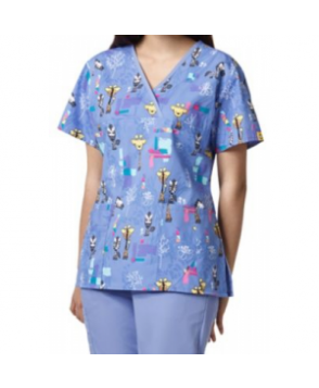 WonderWink Origins Tall Tales crossover print scrub top - Tall Tales