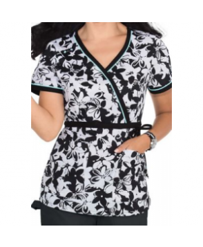 Koi Kathryn Evening Floral mock wrap print scrub top - Evening Floral