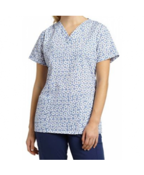 3-- Scrubs Bloom All Over v-neck print scrub top - Bloom All Over