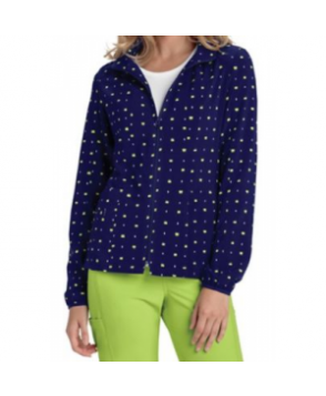 HeartSoul What A Square Navy print scrub jacket - What A Square Navy