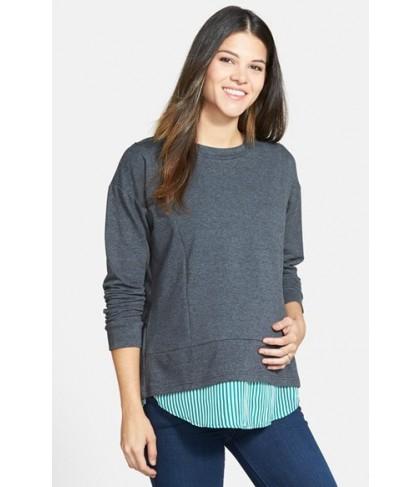 Loyal Hana 'Alex' Layered Look Maternity/nursing Sweatshirt