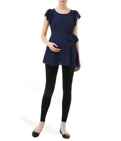 Kimi And Kai 'Quinn' Flutter Sleeve Belted Maternity Top
