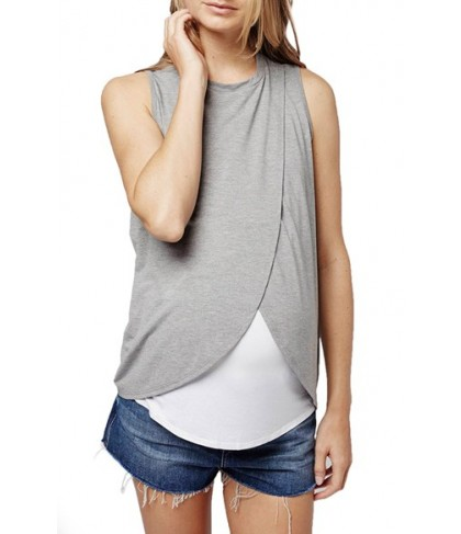 Topshop Wrap Maternity/nursing Tank - Grey