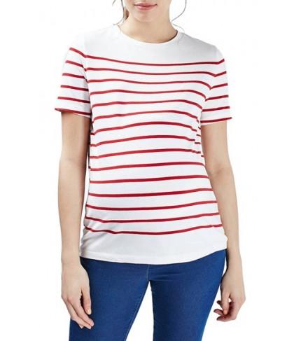 Topshop Breton Stripe Maternity Tee- Red