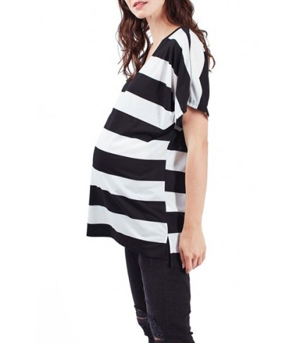 Topshop Rugby Stripe V-Neck Maternity Tee- Black