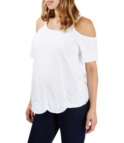 Topshop Embroidered Cold Shoulder Maternity Top - White