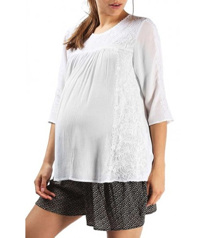 Topshop Embroidered Maternity Peasant Top- White