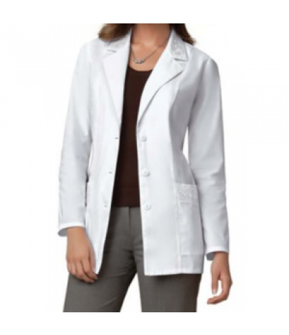 Cherokee embroidered lab coat with Certainty - White - XS