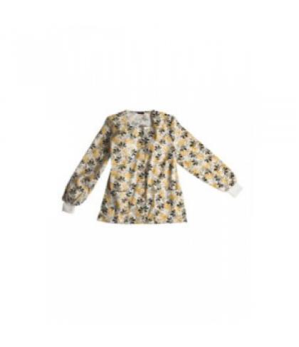 Scrub Wear Olive Electronic Bloom print scrub jacket - Olive Electronic Bloom - M