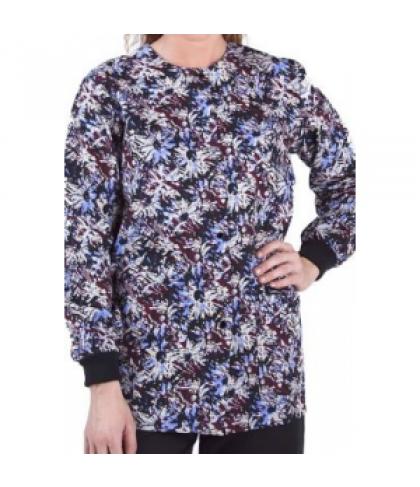 Landau Uniforms Scattered Blooms print scrub jacket - Scattered Blooms Multi - M
