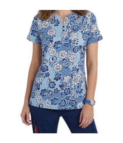 Beyond Scrubs Botanical Blues fashion split neck print scrub top - Botanical Blues - XL