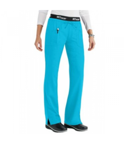 Greys Anatomy 3 pocket low rise logo waist scrub pant - Turquoise - S