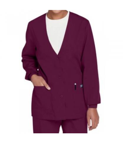 Cherokee Workwear v-neck cardigan scrub jacket - Wine - XL