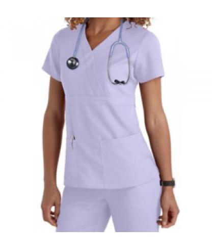 Greys Anatomy 3-pocket mock-wrap scrub top - Lilac - S