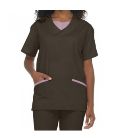 Natural Uniforms tunic solid two piece scrub set - Chocolate/pink - XL