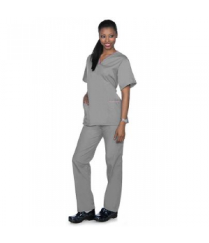 Natural Uniforms rounded v-neck two piece scrub set - Grey/pink - XS