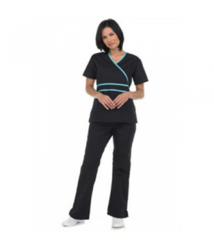 Natural Uniforms mock-wrap two piece scrub set - Black/water blue - L