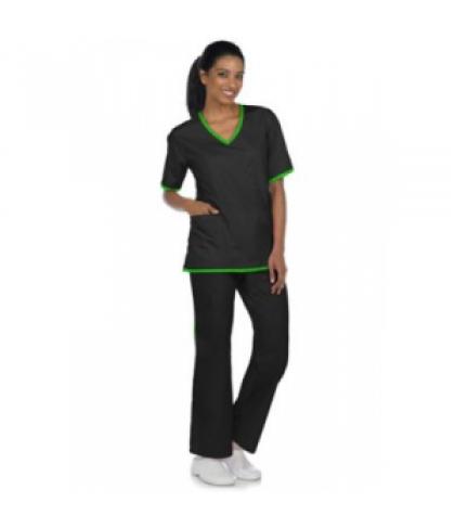 Natural Uniforms contrast two-piece scrub set - Black/lime - M