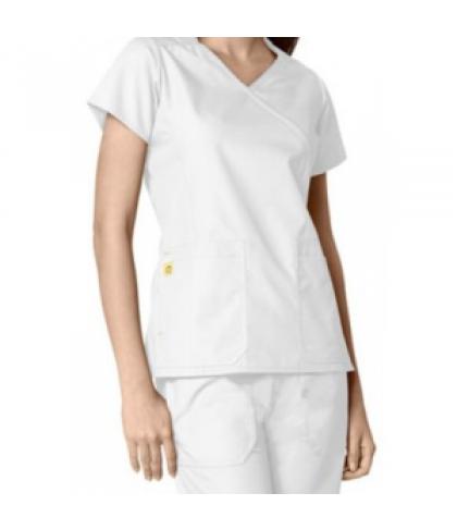 WonderWink Origins Hotel 4 pocket mock wrap scrub top - White/white - XL