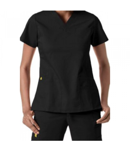 WonderWink Utility Girl v-neck multi pocket scrub top - Black - L
