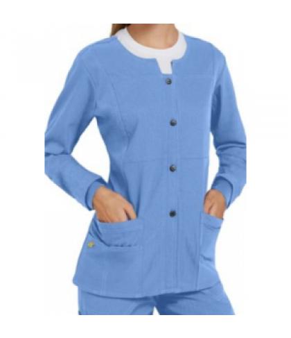 WonderWink Four-Stretch button front scrub jacket - Ceil - XS
