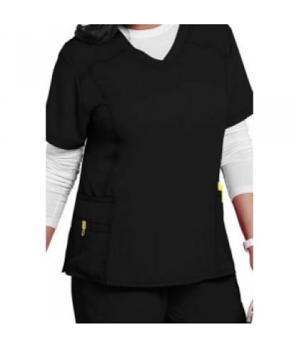 WonderWink Plus curved v-neck scrub top - Black - 1X