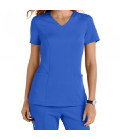 Smitten Bliss Rock Star knit v-neck scrub top - Royal - XXS