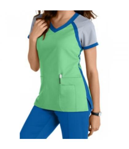 Greys Anatomy 3 pocket color block v-neck scrub top - Honey Dew ...