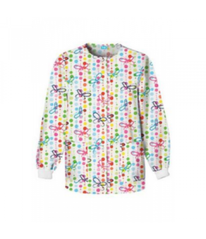 Cherokee Scrub HQ Butterfly Dots print scrub jacket - Butterfly Dots - S
