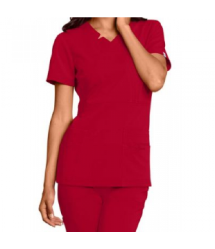 Sapphire mock wrap v-neck scrub top with Certainty - Ruby Red - S