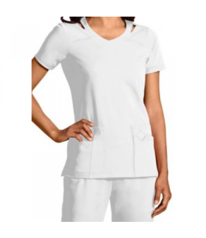 Sapphire v-neck with shoulder cut-outs scrub top with Certainty - White - XL