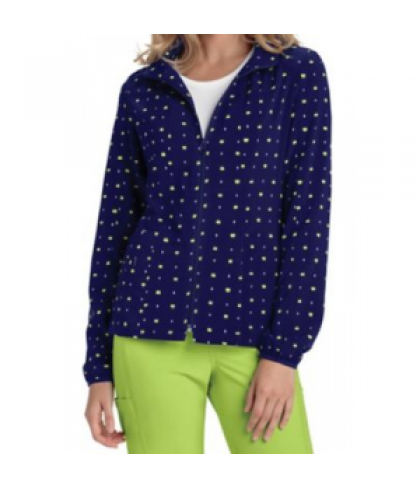 HeartSoul What A Square Navy print scrub jacket - What A Square Navy - 2X